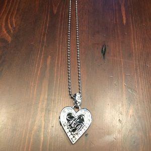 Harley Davidson Black/Crystal/Silver Necklace
